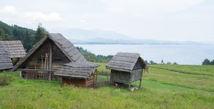 Traditional wooden huts stock photo