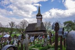 The traditional wooden Ieud Hill Church. Maramures stock image
