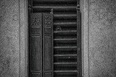 The traditional wooden long trip door of lingnan style architecture stock photos