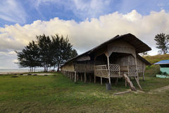 Traditional wooden longhouse at Sabah, Malaysia Stock Images
