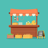 Traditional wooden market food stall full of groceries products with flags, crates and chalk board. Vector illustration in flat style stock illustration