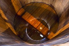 Traditional wooden mash tun at single malt whisky distillery in. Scotland stock images