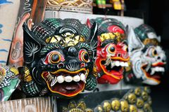 Traditional wooden mask Bali, Indonesia stock photos