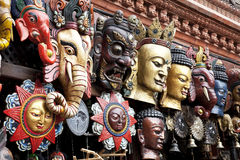 Traditional Wooden Masks, Kathmandu, Nepal Royalty Free Stock Photos