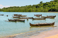Traditional wooden pirogues on Nosy Be island Royalty Free Stock Images