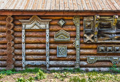 Traditional wooden Russian carved platband of an old wooden hous Stock Photography