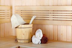 Traditional wooden sauna for relaxation with bucket Royalty Free Stock Photos