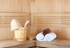 Traditional wooden sauna for relaxation Royalty Free Stock Image