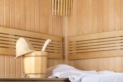 Traditional wooden sauna for relaxation stock photos