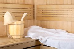 Traditional wooden sauna for relaxation stock image