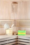 Traditional wooden sauna for relaxation with bucket Royalty Free Stock Images