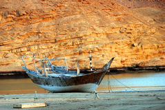 Traditional wooden ships in the harbor of Sur, Sultanate of Oman Royalty Free Stock Photography