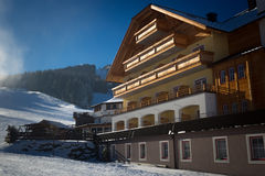 Traditional wooden ski resort at Austrian Alps Stock Image