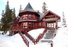 Traditional wooden Slovak restaurant at ski resort Royalty Free Stock Photography