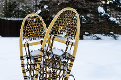 Traditional wooden snowshoes in the snow. Vintage pair of wooden snowshoes in the snow Royalty Free Stock Photo