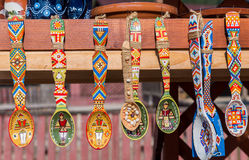 Traditional wooden spoons from Bucovina Stock Images