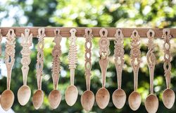 Traditional wooden spoons Stock Photos