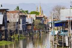 Traditional wooden stilt houses at the Inle lake Stock Photography