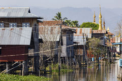 Traditional wooden stilt houses at the Inle lake Royalty Free Stock Images