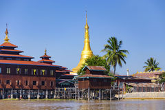 Traditional wooden stilt houses at the Inle lake Royalty Free Stock Photo