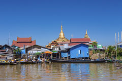 Traditional wooden stilt houses at the Inle lake Royalty Free Stock Photography