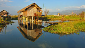 Traditional wooden stilt houses on Inle lake, Myanmar (Burma). Royalty Free Stock Photography
