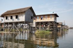 Traditional wooden stilt houses on the Lake Inle Myanmar royalty free stock image