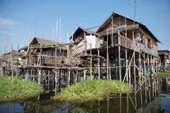 Traditional wooden stilt houses on the Lake Inle Myanmar Stock Photo