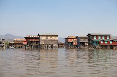 Traditional wooden stilt houses on the Lake Inle Myanmar Royalty Free Stock Photography