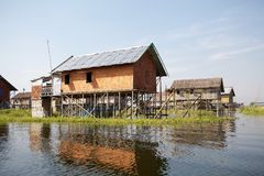 Traditional wooden stilt houses on the Lake Inle Myanmar Stock Images