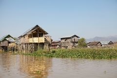 Traditional wooden stilt houses on the Lake Inle Myanmar Stock Image