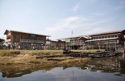 Traditional wooden stilt school on the Lake Inle Myanmar Stock Image