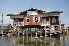 Traditional wooden stilt school on the Lake Inle Myanmar Stock Images