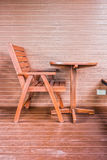 Traditional wooden table and chair. Furniture for interior decoration of wooden house Stock Images