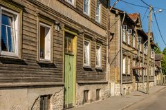 A row of wooden terraced houses stock photo