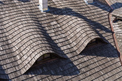 Traditional wooden tiled roof Stock Photo