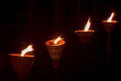 Traditional wooden torch flame Royalty Free Stock Images
