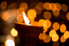 Traditional wooden torch flame at night Royalty Free Stock Images