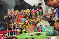 Traditional wooden toy for kids in Hanoi, Vietnam - July,27,2014 stock images
