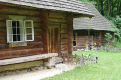 Traditional wooden Ukrainian village houses Stock Images
