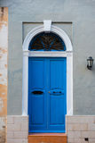 Traditional wooden painted blue door in Malta. Traditional wooden, vintage painted blue door in Malta Stock Photo