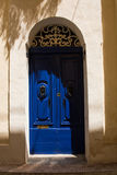 Traditional wooden painted blue door in Malta. Traditional wooden, vintage painted blue door in Malta Stock Image