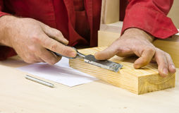 Traditional woodworker using chisel Stock Photos