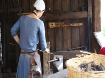 Traditional work inside Foix Castle stock video