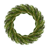 Traditional wreath of spruce branches for Christmas decoration. Royalty Free Stock Images