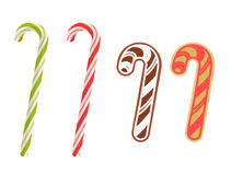 Traditional xmas cookies and caramel canes. Flat christmas desig Stock Photography