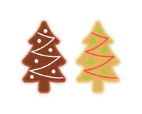 Traditional xmas cookies symbols: christmas tree. Flat treats de. Traditional xmas cookies symbols: christmas tree. Flat illustration of winter holiday sweet Stock Image