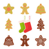 Traditional xmas cookies symbols: gingerbread, christmas tree, s. Tar, bell, socks. Flat illustration of christmas winter holiday sweet baked treats. Isolated on Stock Photo