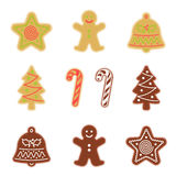 Traditional xmas cookies symbols: gingerbread, christmas tree. Star, cane, bell. Flat illustration of christmas winter holiday sweet baked treats. Isolated on Royalty Free Stock Images