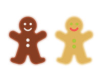 Traditional xmas cookies symbols: gingerbread man. Flat christmas design elements. Traditional xmas cookies symbols: gingerbread man. Flat illustration of royalty free illustration